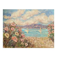 """Impressionist Floral Wildflowers Seascape"", Original Oil Painting by artist Sarah Kadlic, 40"" x 30"" Stretched Canvas."