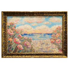 """Impressionist Floral Seascape"", Original Oil Painting by artist Sarah Kadlic."