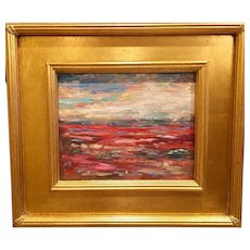 """Abstract Landscape Study: Red & Umber"", Original Oil Painting by artist Sarah Kadlic, 8x10"" Gilt Leaf Frame"