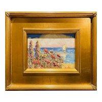 """Impressionist Mediterranean Seascape "", Original Oil Painting by artist Sarah Kadlic, 9x12"" Gilt Leaf Frame"