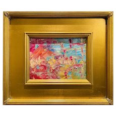 """Abstract Impasto Palette"", Original Oil Painting by artist Sarah Kadlic, 12"" Gilt Leaf Frame"