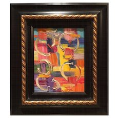 """""""Abstract Impasto of Color"""", Original Oil Painting by artist Sarah Kadlic, 8x10"""" Framed Gilt and Dark Wood"""