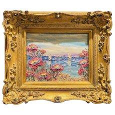 """Abstract Impressionist Wildflowers Seascape"", Original Oil Painting by artist Sarah Kadlic, 15"" Gilt Leaf Wood Frame"