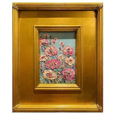 """Abstract Impasto Floral Landscape"", Original Oil Painting by artist Sarah Kadlic, 12"" Gilt Leaf Wood Frame"