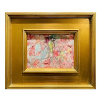 """Abstract Still Life Floral"", Original Oil Painting by artist Sarah Kadlic, Gilt Leaf Frame 11""x12"""