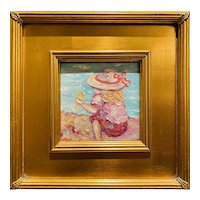 """Abstract Impasto Girl Child Seascape"", Original Oil Painting by artist Sarah Kadlic, Gilt 12"" Frame"
