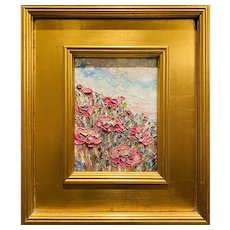 """Abstract Pinks Floral"", Original Oil Painting by artist Sarah Kadlic, 14""x12 Gilt Frame"