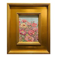 """Abstract Impasto Flowers"", Original Oil Painting by artist Sarah Kadlic, 14""x12"" Gilt Leaf Wood Frame"