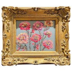 """Abstract Wildflowers Floral"", Original Oil Painting by artist Sarah Kadlic, Gilt Leaf Frame 13"" x 15"""
