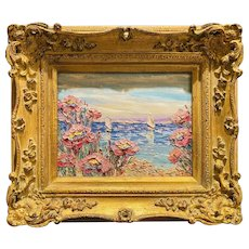 """Abstract Impressionist Wildflowers Floral Landscape"", Original Oil Painting by artist Sarah Kadlic, Gilt Leaf 15"" Ornate Frame"