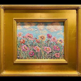 """Abstract Wildflowers Landscape "", Original Oil Painting by artist Sarah Kadlic."