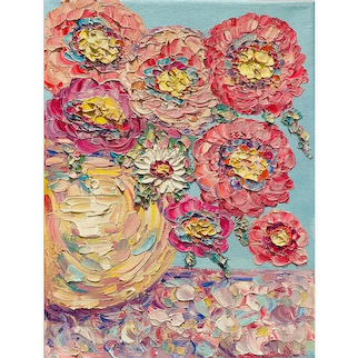 """""""Abstract Expressionist Impasto Flowers"""", Original Oil Painting by artist Sarah Kadlic, 9""""x12"""" Stretched Canvas"""