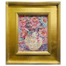 """Abstract Expressionist Floral Impasto"", Original Oil Painting by artist Sarah Kadlic, 14"" x 16"" Gilt Leaf Wood Frame."