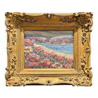 """""""Abstract Wildflowers Floral Seascape """", Original Oil Painting by artist Sarah Kadlic, Carved Gilt Wood Frame 15"""""""