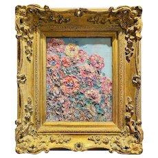 """Abstract Wildflowers Impasto "", Original Oil Painting by artist Sarah Kadlic, 15""x13"" Gilt Leaf Ornate Wood Frame"