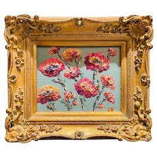 """Abstract Wildflowers Floral"", Original Oil Painting by artist Sarah Kadlic, 13""x15"" Gilt Leaf European Wood Frame"