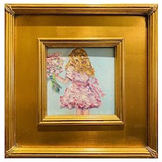 """Abstract Impasto Girl Child With Flowers"", Original Oil Painting by artist Sarah Kadlic, 12"" Gilt Leaf Framed"