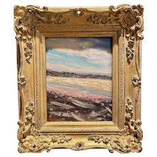 """Abstract Impasto Landscape"", Original Oil Painting by artist Sarah Kadlic, Gilt Framed 13""x15"""