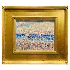 "Abstract Seascape Impasto Sailboats"", Original Oil Painting by artist Sarah Kadlic, 16x14"" Gilt Wood Frame"