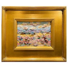 """Abstract Tuscany Landscape "", Original Oil Painting by artist Sarah Kadlic, 12x14"" Gilt Leaf Framed"
