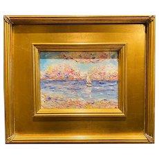 """Abstract Mediterranean Seascape "", Original Oil Painting by artist Sarah Kadlic, 12""x14"" Gilt Leaf Wood Frame"