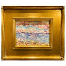 """Abstract Impasto Seascape "", Original Oil Painting by artist Sarah Kadlic, 12""x14"" Gilt Leaf Wood Frame"