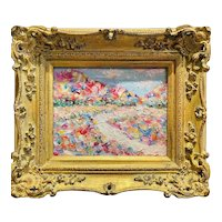 """Abstract Impasto Landscape"", Original Oil Painting by artist Sarah Kadlic, 15"" Gilt Leaf Wood Frame"