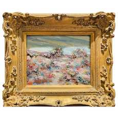 """Abstract Expressionist Impasto Landscape "", Original Oil Painting by artist Sarah Kadlic, 13"" x 15"" Gilt Leaf Carved Ornate Frame"