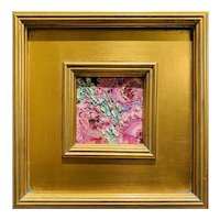"""Abstract Impasto Floral Study"", Original Oil Painting by artist Sarah Kadlic, 12"" Gilt Leaf Wood Frame"