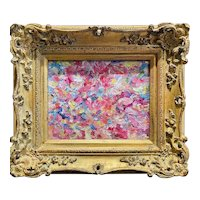 """Abstract Impasto Palette "", Original Oil Painting by artist Sarah Kadlic, 15"" x 13"" Gilt Leaf Framed"