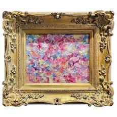 """Abstract Impasto Palette "", Original Oil Painting by artist Sarah Kadlic, 15"" x 13"" Gilt Leaf Framed"