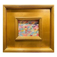 """Abstract Impasto Color IV"", Original Oil Painting by artist Sarah Kadlic, 12"" Gilt Leaf Wood Frame"
