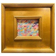 """Abstract Impasto Color IV"", Original Oil Painting by artist Sarah Kadlic, 12"" Gilt Leaf Wood Frame"