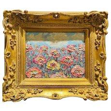 """Abstract Seascape Impasto Floral"", Original Oil Painting by artist Sarah Kadlic, 15"" Gilt Leaf Ornate Carved Wood Frame"