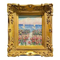 """Abstract Impasto Seascape"", Original Oil Painting by artist Sarah Kadlic, 15""x13"" Gilt Leaf Ornate Frame"