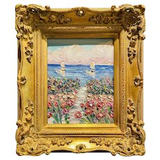 """Abstract Impasto Seascape"", Original Oil Painting by artist Sarah Kadlic, 15""x13"" Gilt Leaf Ornate Frame"