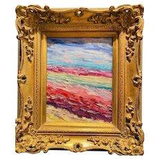"""Abstract Expressionist Impasto Landscape"", Original Oil Painting by artist Sarah Kadlic, 15"" Gilt Leaf Wood Frame"