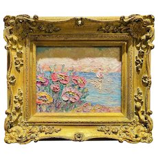 """Abstract Wildflowers Seascape "", Original Oil Painting by artist Sarah Kadlic, 15""x13"" Gilt Leaf Ornate Frame"