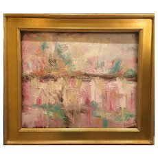"""Abstract Pale Pink Landscape "", Original Oil Painting by artist Sarah Kadlic, 24x20"" Gilt Framed"