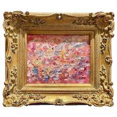 """Abstract Pink Expressionist Impasto"", Original Oil Painting by artist Sarah Kadlic, 13x15"" Gilt Leaf Wood Frame"