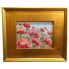 """Field of Red Poppies"", Original Oil Painting by artist Sarah Kadlic, 9x13"" Gilt Leaf Wood Frame"