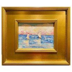 """Abstract Sailboat Seascape"", Original Oil Painting by artist Sarah Kadlic, 14"" x 12"" Gilt Leaf Wood Frame"