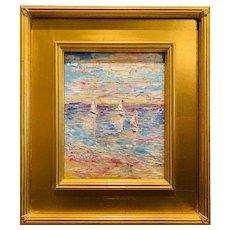 """Abstract Expressionist Impasto Seascape "", Original Oil Painting by artist Sarah Kadlic, Gilt Leaf Wood 15"" Frame"