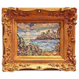"""Abstract Impasto Setting Sun Reflections"", Original Oil Painting by artist Sarah Kadlic, 8x10 European Gilt Frame"