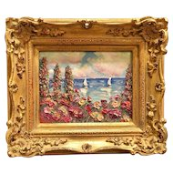 """Summer Flowers Seascape View II"", Original Oil Painting by artist Sarah Kadlic, 8x10"" European Gilt Wood Frame"