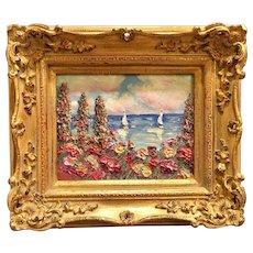 """Summer Flowers Seascape View II"", Original Oil Painting by artist Sarah Kadlic, 8x10"" European Gilt Wood Frame"