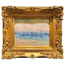 """Impressionist Seascape with Sailboats Impasto"", Original Oil Painting by artist Sarah Kadlic, 15"" Wide by 13"" Gilt Leaf Wood Frame"