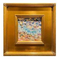 """Abstract Impasto Palette"", Original Oil Painting by artist Sarah Kadlic, 12""x12"" Gilt Leaf Wood Frame"
