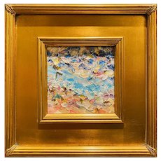 """Abstract Impasto Palette"", Original Oil Painting by artist Sarah Kadlic, 12""x12"" Gilt Leaf Wood Frame"
