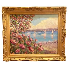 """Seascape Tree with Sailboats"", Original Oil Painting by artist Sarah Kadlic, 24x20"" Gilt Wood French Carved Frame"